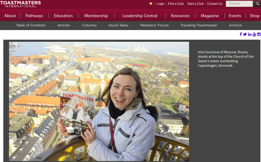 TB president Irina Suvorova on Toastmasters International website